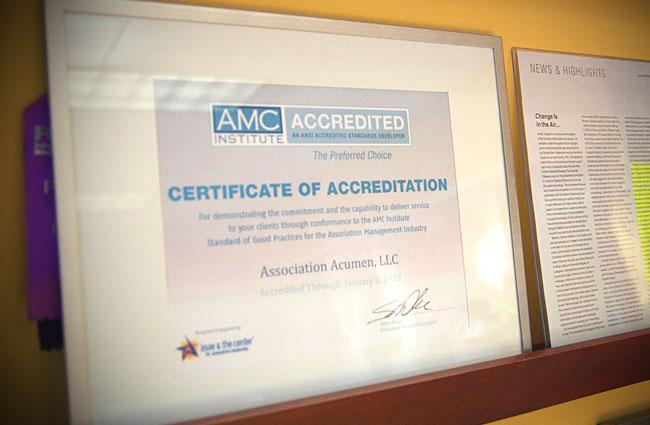 ACMI accreditation certificate photo.